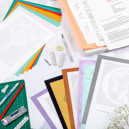 Contents of paper cutting starter kit from kppapercuts