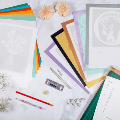 Detailed image of paper cutting starter kit contents