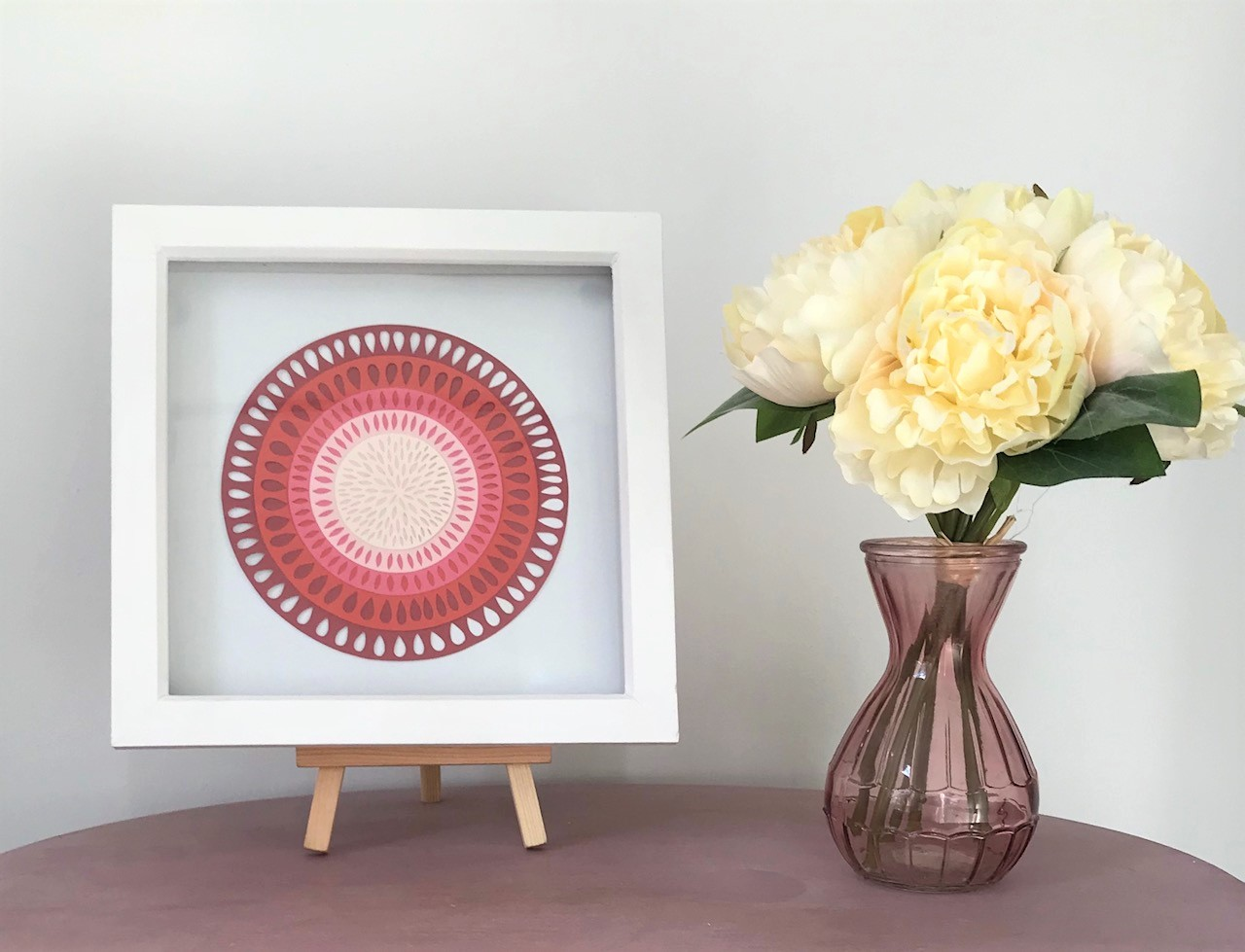 Bright Home Decor Pink Layered Paper Cut Art