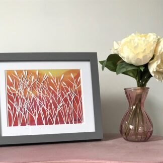 Sunset Reeds paper cut art