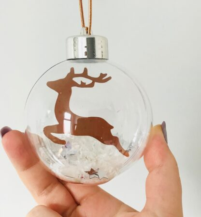paper cut reindeer bauble
