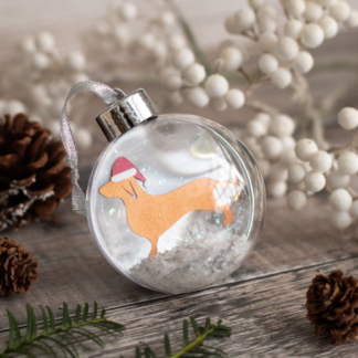 Dachshund paper cut Christmas bauble