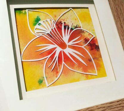 Daffodil paper cut close up