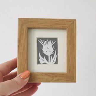 miniature thistle paper cut by kppapercuts
