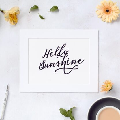 Hello sunshine hand cut paper quote in black from kppapercuts