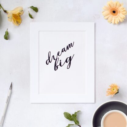 Dream big hand cut paper quote in black from kppapercuts