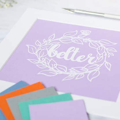 Close up of Belter paper cut art