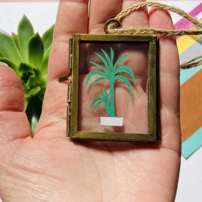 Miniature House Plant Paper Cut hanging Frame