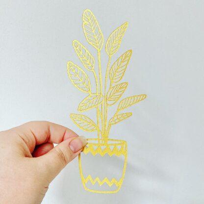 Golden plant paper cut by kppapercuts