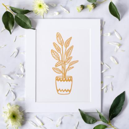 Golden plant paper cut