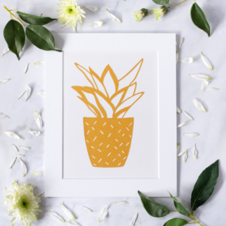 Golden plant paper cut
