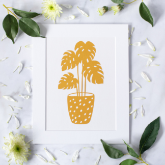 Golden house plant paper cut