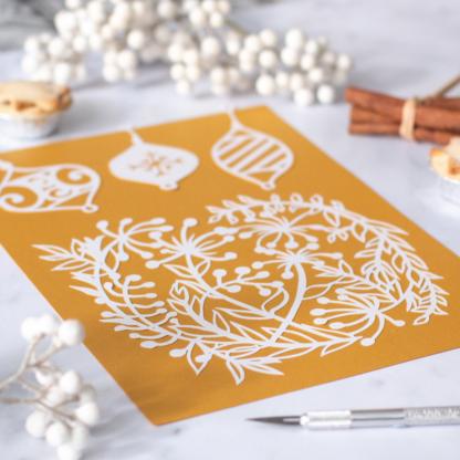 Festive paper cutting template