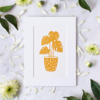 Small golden plant paper cut