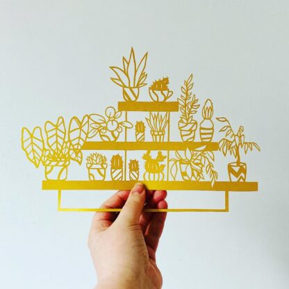 Paper cut house plants on a trio of shelves, paper cut plant, plant lovers gift