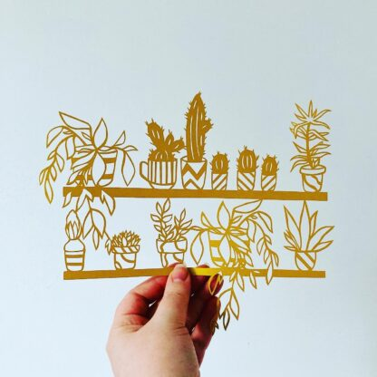 Paper cut house plant shelf, plant lovers gift