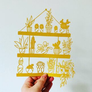 Paper cut house plants on a quartet of shelves, plant lovers gift
