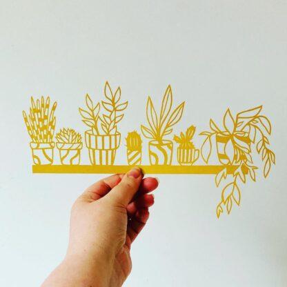 Plant shelf paper cut, house plant paper cut art