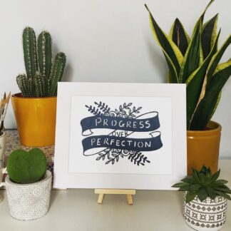Progress over perfection hand cut positive quote by northeast artist kppapercuts