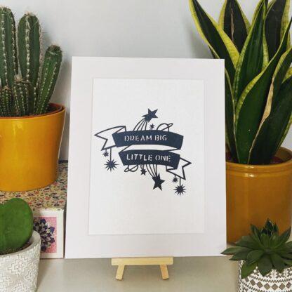 Dream Big Little One paper cut quote in black from northeast artist kppapercuts